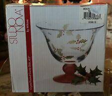 STUDIO NOVA HOLLY BERRY RED CRYSTAL FOOTED CANDY DISH 4.5""