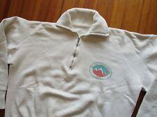 New listing Vtg 50s 1959 Girl Scout Senior Roundup 1/4 Zip Sweatshirt White Cotton Ink Print