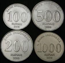 INDONESIA 100 Rupiah, 200, 500 & 1000 Rupiah 2016 - Lot of 4 Coins - UNC *