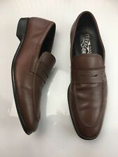 Salvatore Ferragamo Brown Pebbled Leather Penny Loafers Slip On Mens Size 7.5 D