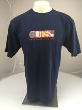 Vintage GUESS USA world brand Logo Blue SS Crewneck spellout T-Shirt Large 90s