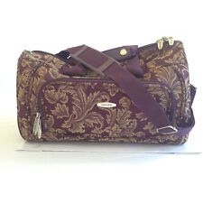 Travel Duffle Bag Pierre Cardin Vintage Burgandy Damask Leaves
