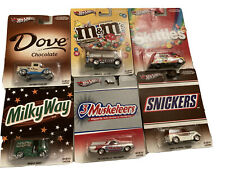 Hot Wheels Pop Culture M&M Mars Candy Set Of 6 Snickers Dove Skittles Milky Way