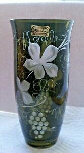 Vintage Egermann Czech Bohemian  Glass Vase Dark Green Etched Cut Grape Leaves