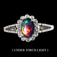 Oval Black Opal 7x5mm Cz 14K White Gold Plate 925 Sterling Silver Ring Size 6