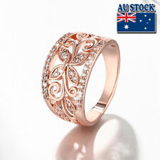18K Rose Gold Filled Hollow Clear CZ Crystal Leaf Band Ring