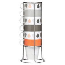Set of 6 Orange Leaves Coffee Mugs Stackable Home Tea Cups Chrome Stand 300ml