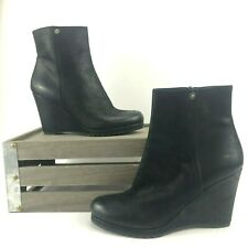 Prada Womens Wedge Ankle Boots Size 7.5 Euro 38 Black Leather Booties Almond Toe