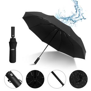 Unisex Stormproof Automatic Folding Black Windproof 10 Ribs Strong Umbrella