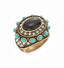 Heidi Daus Jewelry Swarovski Crystal Turquoise Onyx Ring size 7.5