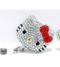 """Bling Hello Kitty 45mm/ 1.9"""" Retractable Reel ID Badge Holder RED"""