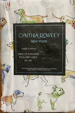 Cynthia Rowley Colorful Dogs Cotton Standard Pillowcases Set Of 2