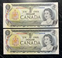 1973 2x $1 BANK OF CANADA REPLACEMENT *MZ- UNC!!