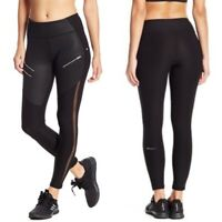 NWT $79 X by Gottex Selena Zipper Black Mesh Athletic Leggings Pants Size S