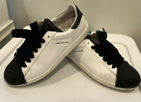 Moncler Mrs Moncler White Womens Sneakers, Blue Laces, Size 38