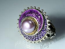 Barbara Bixby Enamel & Gemstone Pearl Sterling Silver 18k Gold Ring Size 7