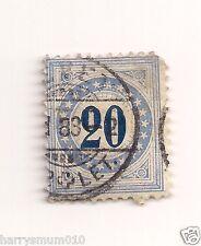 Sello de Suiza 1882 franqueo debido papel granito 20c