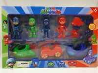 PJ Masks Action Figures Car Set of 7 Catboy Owelette Gekko Romeo Luna Night Ninj