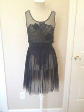 NWT $168 Free People Crochet Applique Sheer Mesh Tulle Lace Slip Dress Black XS