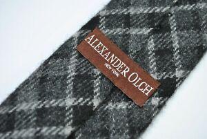 ALEXANDER OLCH NEW YORK SKINNY Tie 100% ENGLISH Wool Black/Grey Color L62 W2.7