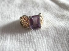 GENUINE KABANA STERLING SILVER 925 & 14K GOLD QUILTED PRINCESS AMETHYST RING