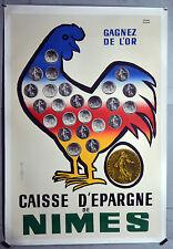 affiche ancienne entoilée : Caisse d'épargne de NÎmes -Années 60