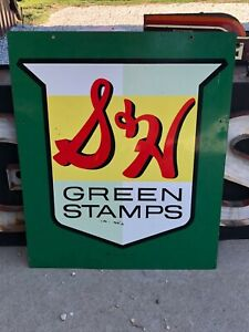 ORIGINAL Vintage S&H GREEN STAMPS SIGN Gas Oil Store OLD Soda Pop DOUBLE SIDED
