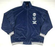 DELF USA Mens Jacket 3XL Blue NY Baseball Team 2002 Full Zip Velour Velvet