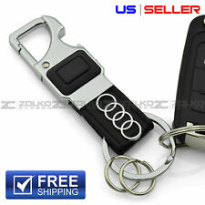 Led Flashlight Keychain Key Fob Chain Ring Black Leather - Us Seller