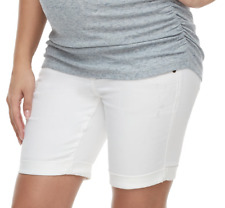 Maternity Shorts White Denim 2 XS Bermuda NEW Bottoms X SMALL a Glow Full Panel