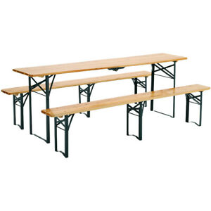 Folding Garden Beer Table and 2 Bench Set Outdoor Patio Foldable Seat Party BBQ