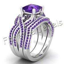 Modern Princess Cut Amethyst Gemstone Studded 925 Silver Unique Style Ring