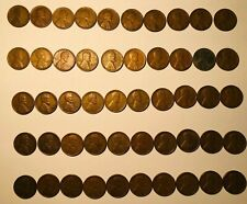 Roll of 50 Different Lincoln Wheat Pennies 1916-1958D with 1943 Steel