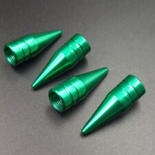 4pcs Green Aluminum Long Spiked Car Wheel Tire Valve Air Stem Dust Caps Cover