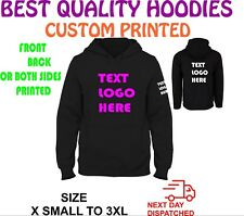 CUSTOM TEXT LOGO  PERSONALISED DESIGN YOUR OWN HOODIE UNISEX HOODY