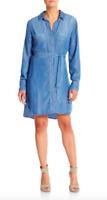 BELLA DAHL Dress Tunic XS Chambray Button Down Long Sleeve Mini Anthropologie