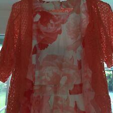 INC Women Apricot Orange Dress Floral  Size 10 With Lace Jacket Cotton On Sale