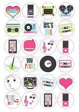 24 Music WAFER/Carta di Riso Per Cupcake Toppers Commestibili per Torta fata decorazioni per chignon