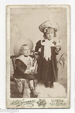 CUTE KIDS W/ TOY DOLL & SHEEP ON ROCKERS CDV PHOTO, HUB. GOSSENS, LIEGE BELGIUM