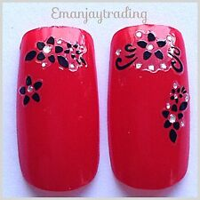 Nail Art 3D Decals/Stickers  Black Trailing Flowers #45