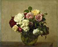 Oil painting Henri Fantin Latour - Fine roses flowers in glass vase canvas art