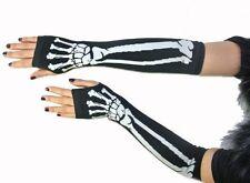 New Black Punk Gothic Dark Rock White Skeleton Long Arm Warmer Fingerless Gloves