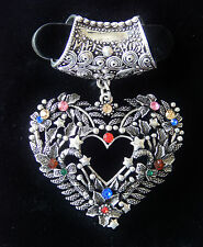 NWT SILVER SCARF RING/TUBE W/SILVER HEART PENDANT, STARS, BLUE, RED, PINK STONES
