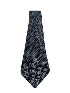 HERMES Paris Black Gray 100% Silk Horsebit Pattern Men's Tie