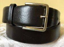 Vintage Men's Darkest Brown Cowhide Leather Belt Removable Buckle Size 36