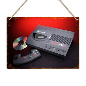 Amiga CD32 Retro Console Metal Sign Plaque Commodore Gaming Home Man Cave Bar