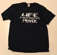 Men's Life Is Fragile Handle With Prayer Short Sleeve T-Shirt Large L NEW Navy
