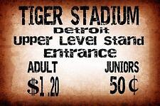 Tiger Stadium Detroit Vinatge Style Metal Sign Baseball Sign
