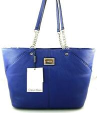 Calvin Klein Tote H4AAA2FG Handbag Ink Blue Leather Silver Chain Shoulder Bag