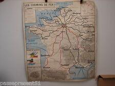Jolie ancienne carte, Chemin de Fer, Industries diverses, 1957, 91 cm x 79 cm